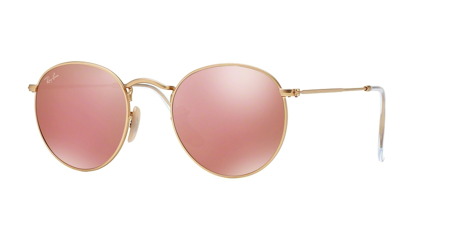 bf84e9ca8ce Sunglasses Ray-Ban RB3447 Round Metal 112 Z2. Frame  matte gold. Lenses  brown  mirror pink