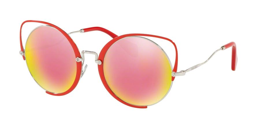 18660ec58e81 Luxury Sunglasses Miu Miu MU 51TS 45J5L2. Frame  red. Lenses  grey mirror  yellow rose