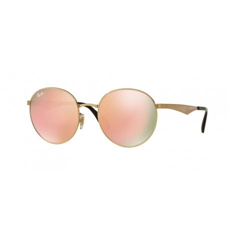 Ray-Ban RB3537 001/2Y | Frame: gold | Lenses: brown mirror pink