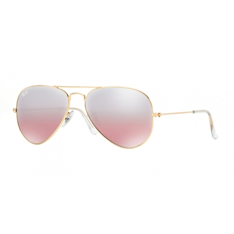 Ray-Ban RB3025 Aviator Large Metal 001/3E | Frame: gold | Lenses: crystal brown-pink silver mirror