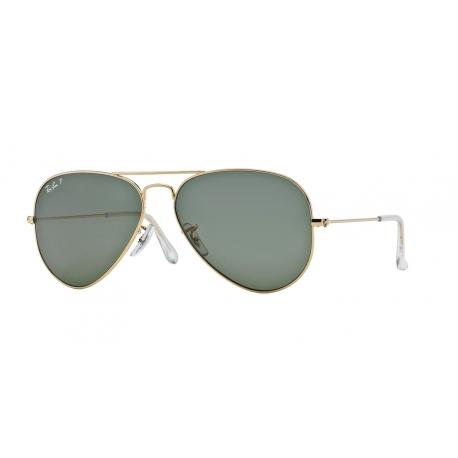 Ray-Ban RB3025 Aviator Large Metal 001/58 | Frame: gold | Lenses: crystal green polarized