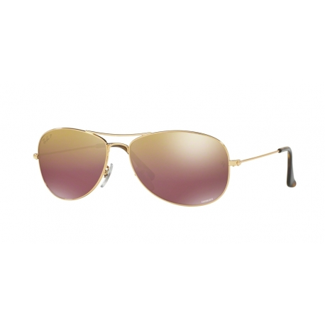 Ray-Ban RB3562 001/6B | Frame: shiny gold | Lenses: brown polarized gold mirror