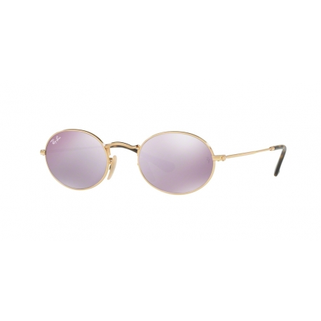 Ray-Ban RB3547N Oval 001/8O | Frame: gold | Lenses: wisteria mirror