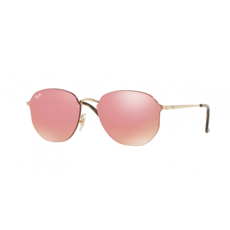 Ray-Ban RB3579N Blaze Hexagonal 001/E4 | Frame: gold | Lenses: pink mirror pink