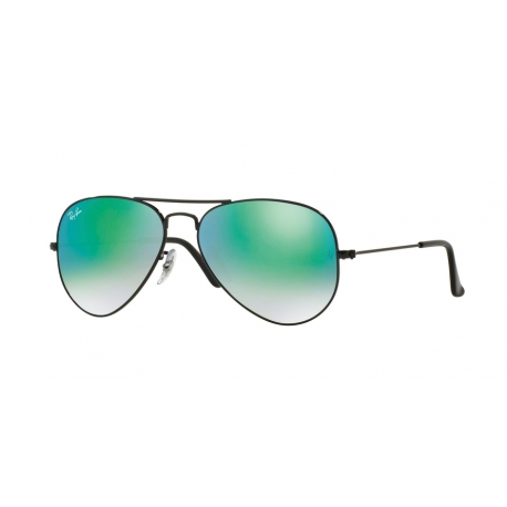 Ray-Ban RB3025 Aviator Large Metal 002/4J | Frame: shiny black | Lenses: mirror gradient green