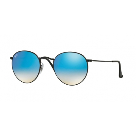 Ray-Ban RB3447 Round Metal 002/4O | Frame: shiny black | Lenses: blue gradient mirror
