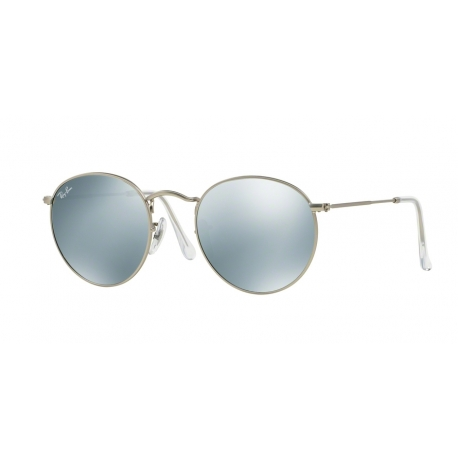 Ray-Ban RB3447 Round Metal 019/30 | Frame: matte silver | Lenses: light green silver mirror