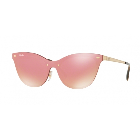 Ray-Ban RB3580N Blaze Cat Eye 043/E4 | Frame: brushed gold | Lenses: pink mirror pink