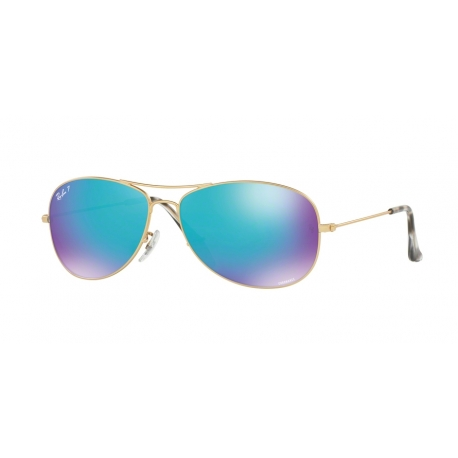 Ray-Ban RB3562 112/A1 | Frame: matte gold | Lenses: blue polarized mirror