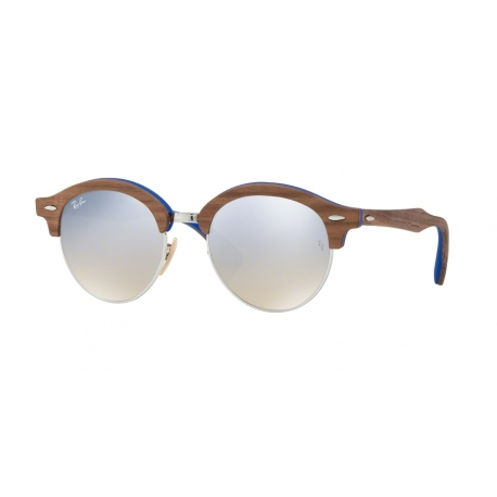 Ray-Ban RB4246M Clubround Wood 12179U | Frame: silver | Lenses: gradient brown silver mirror