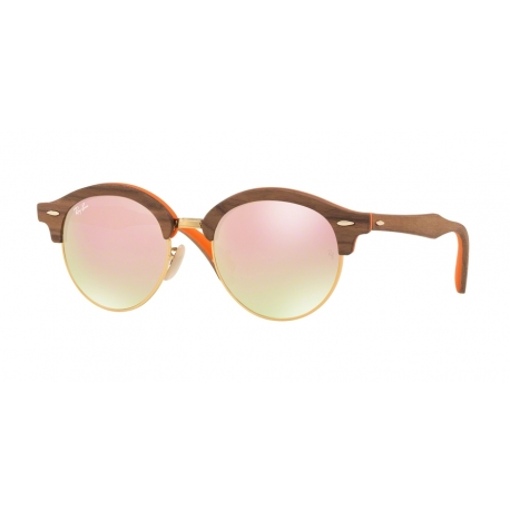 Ray-Ban RB4246M Clubround Wood 12187O | Frame: light bronze | Lenses: gradient brown mirror pink