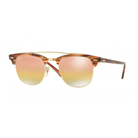 Ray-Ban RB3816 Clubmaster Doublebridge 1237I1 | Frame: gold | Lenses: green gold mirror gradient pink