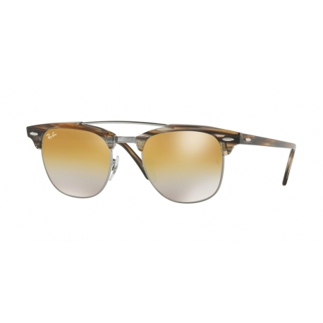 Ray-Ban RB3816 Clubmaster Doublebridge 1238I3 | Frame: gunmetal | Lenses: brown silver mirror gradient