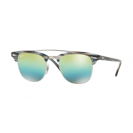 Ray-Ban RB3816 Clubmaster Doublebridge 1239I2 | Frame: silver | Lenses: green mirror blue gradient
