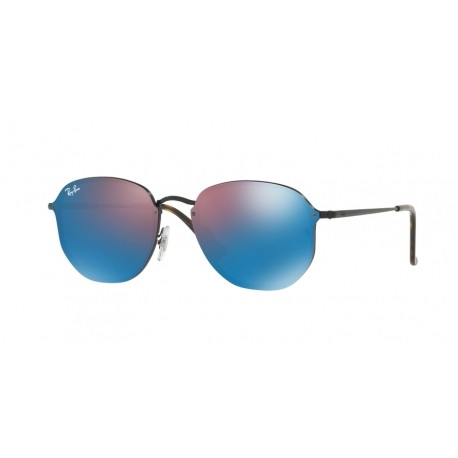 Ray-Ban RB3579N Blaze Hexagonal 153/7V | Frame: semi-glossy black | Lenses: dark violet mirror blue