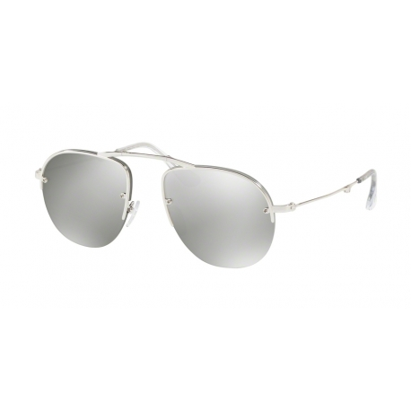 Prada PR 54US 1BC197 | Frame: silver | Lenses: light grey silver mirror