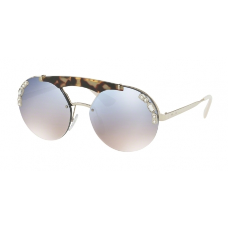 Prada PR 52US 23C5R0 | Frame: silver, medium havana | Lenses: gradient light blue silver mirror