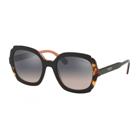 Prada PR 16US 5ZWGR0 | Frame: top black pink, medium havana | Lenses: pink gradient violet silver mirror
