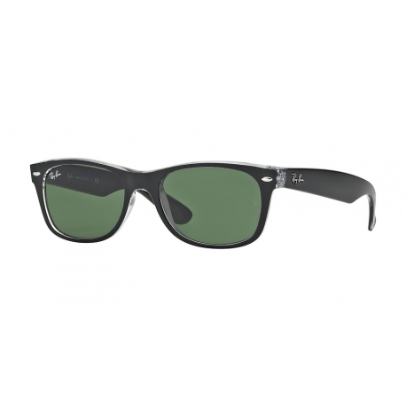 Ray-Ban RB2132 New Wayfarer 6052 | Frame: top black on transparent | Lenses: green