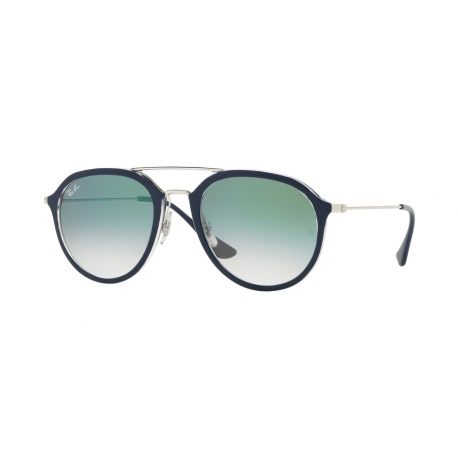 Ray-Ban RB4253 60533A | Frame: top blue on transparent | Lenses: transparent gradient green
