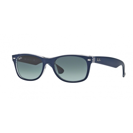 Ray-Ban RB2132 New Wayfarer 605371 | Frame: top matte blue on transparent | Lenses: grey gradient