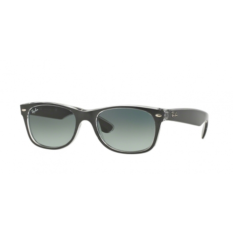Ray-Ban RB2132 New Wayfarer 614371 | Frame: top brushed gunmetal on transparent | Lenses: grey gradient dark grey