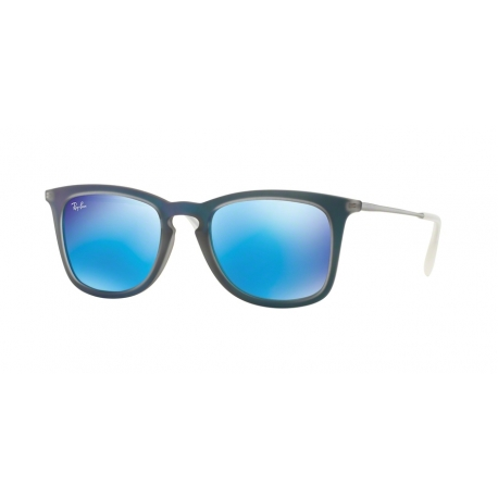 Ray-Ban RB4221 617055 | Frame: burnout blue rubber | Lenses: light green mirror blue