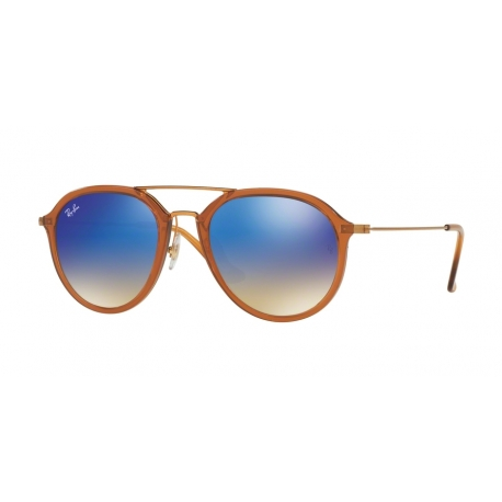 Ray-Ban RB4253 62388B | Frame: shiny brown | Lenses: blue mirror gradient