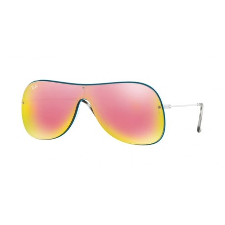 Ray-Ban RB4311N 63624Z | Frame: white on top petroleum | Lenses: grey mirror yellow rose