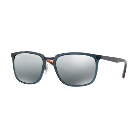 Ray-Ban RB4303 636488 | Frame: transparent dark blue | Lenses: grey silver mirror gradient