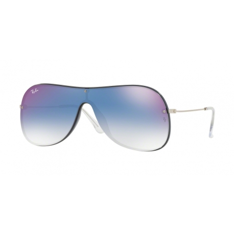 Ray-Ban RB4311N 6374X0 | Frame: blue on top grey | Lenses: clear blue gradient mirror red