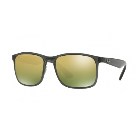 Ray-Ban RB4264 876/6O | Frame: shiny grey | Lenses: green polarized gold mirror