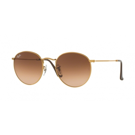 Ray-Ban RB3447 Round Metal 9001A5 | Frame: shiny light bronze | Lenses: pink gradient brown