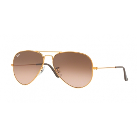 Ray-Ban RB3025 Aviator Large Metal 9001A5 | Frame: shiny light bronze | Lenses: pink gradient brown
