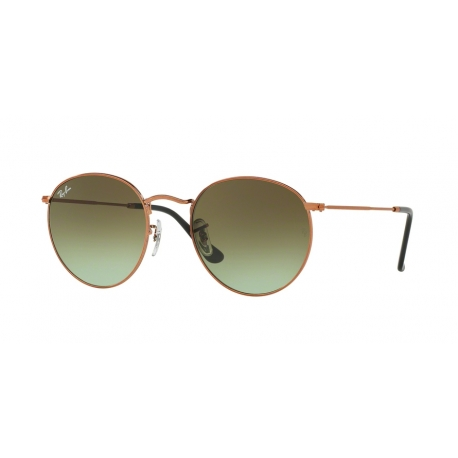 Ray-Ban RB3447 Round Metal 9002A6 | Frame: shiny medium bronze | Lenses: green gradient brown