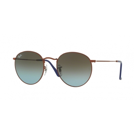 Ray-Ban RB3447 Round Metal 900396 | Frame: shiny dark bronze | Lenses: blue gradient brown