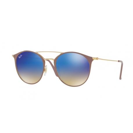 Ray-Ban RB3546 90118B | Frame: gold top beige | Lenses: blue gradient mirror