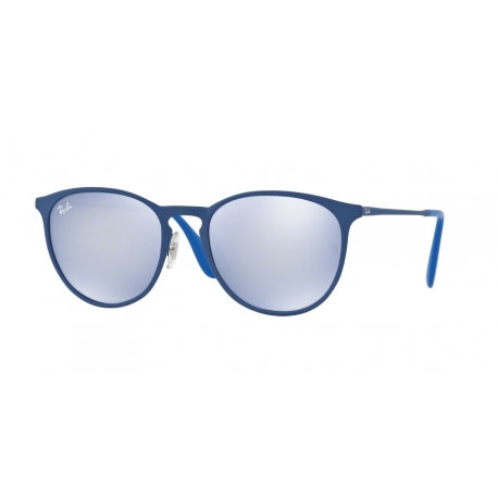 Ray-Ban RB3539 Erika Metal 90221U | Frame: rubber electric blue | Lenses: blue light mirror grey