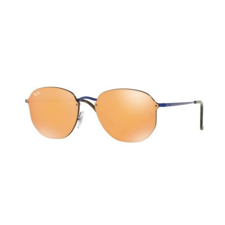 Ray-Ban RB3579N Blaze Hexagonal 90387J | Frame: blue | Lenses: dark orange gold mirror