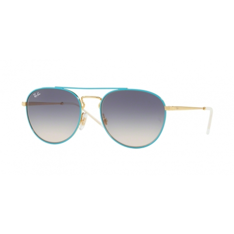 Ray-Ban RB3589 9057I9 | Frame: gold top on light blue | Lenses: light brown gradient blue