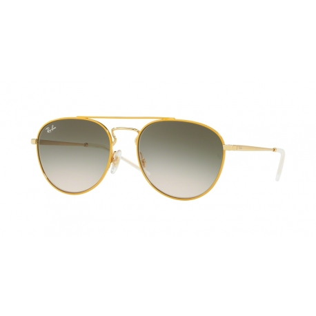 Ray-Ban RB3589 90582C | Frame: gold top on yellow | Lenses: light brown gradient green