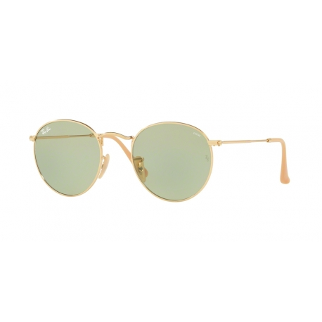 Ray-Ban RB3447 Round Metal 90644C | Frame: gold | Lenses: photochromic green
