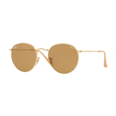 Ray-Ban RB3447 Round Metal 90644I | Frame: gold | Lenses: photochromic brown