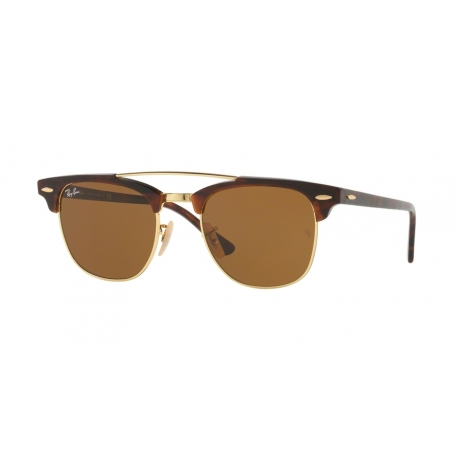 Ray-Ban RB3816 Clubmaster Doublebridge 990/33 | Frame: gold | Lenses: brown