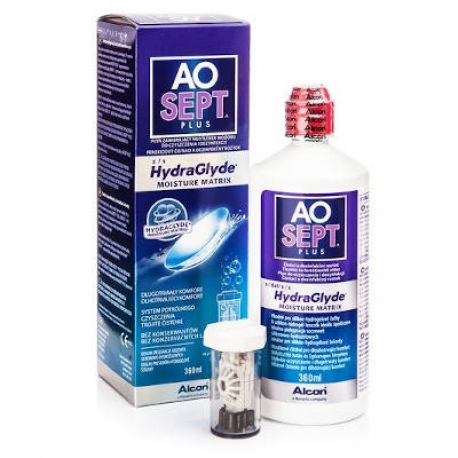Alcon AOSEPT PLUS con HydraGlyde | Single-phase hydrogen peroxide disinfection system (3%) with HydraGlyde humectant matrix. For all types of contact lenses. Preservative free. | The package contains catalyst contact lenses case.