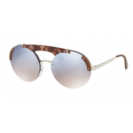 Prada PR 52US C135R0 | Frame: silver, pink havana, brown | Lenses: gradient light blue silver mirror