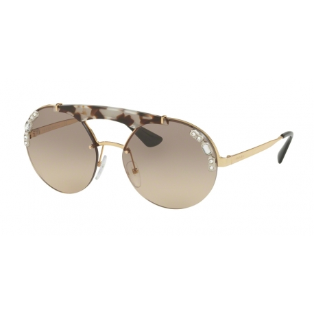 Prada PR 52US C3O3D0 | Frame: gold, opal spotted brown | Lenses: light brown gradient light grey