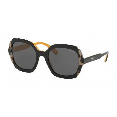 Prada PR 16US CCO1A1 | Frame: top black yellow, grey havana | Lenses: grey