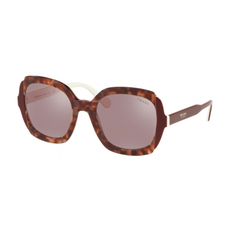 Prada PR 16US CDK214 | Frame: pink havana, top bordeaux ivory | Lenses: light violet mirror silver