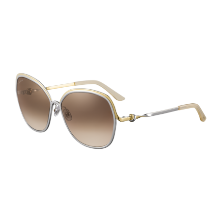 Cartier CT0090S 001 | Frame: silver | Lenses: brown